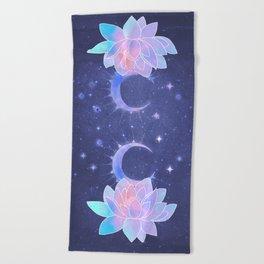 moon lotus flower Beach Towel