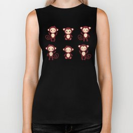 pattern with funny brown monkey boys and girls on white background. Vector illustration Biker Tank