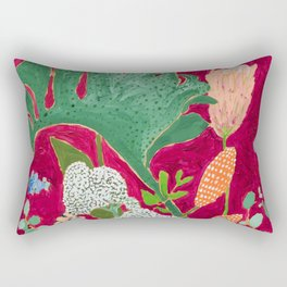 Fuchsia Pink Floral Jungle Painting Rectangular Pillow