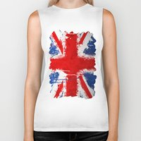 british Biker Tanks featuring BRITISH FLAG by Sophie