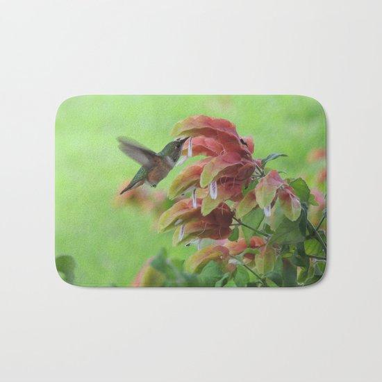 Hummingbird in Justicia Bath Mat