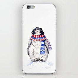 Baby Penguin in Red and Blue Scarf. Winter Season iPhone Skin