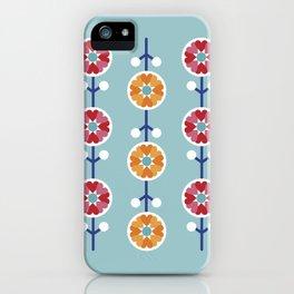 Scandinavian inspired flower pattern - blue background iPhone Case