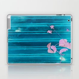 blue wooden wall pink jasmine minimal Laptop & iPad Skin