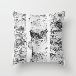Birch Trees Landscape Photography | Black and White | black-and-white | bw Throw Pillow