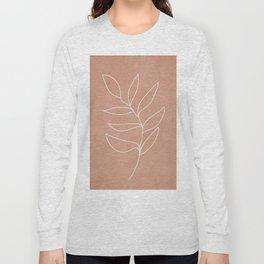 Engraved Leaf Line Long Sleeve T-shirt