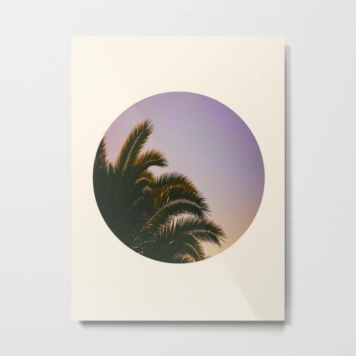 Sunset Purple Palm Tree Circle Photo Metal Print
