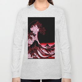 The Great Wave : Red & Black Long Sleeve T-shirt
