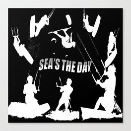 Seas The Day Kitesurfing Canvas Print