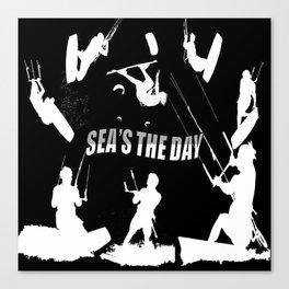Seas The Day Kitesurfing Canvas Print