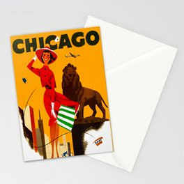 Vintage Chicago Illinois Travel Stationery Cards