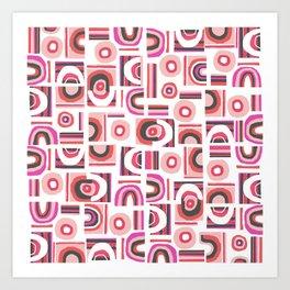 Modern Bauhaus Freehand Abstract Pattern Art Print