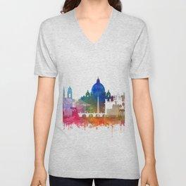 Rome Skyline Watercolor by Zouzounio Art Unisex V-Neck