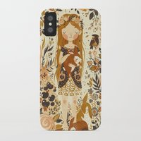 brown iPhone & iPod Cases featuring The Queen of Pentacles by Teagan White