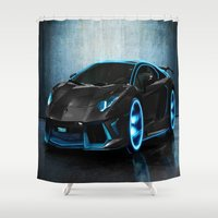sports Shower Curtains featuring sports cars  , sports cars  games, sports cars  blanket, sports cars  duvet cover,  by ira gora