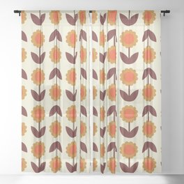 Retro 70s Wallpaper Flowers Sheer Curtain