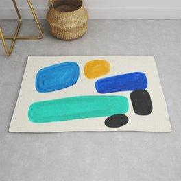 Mid Century Modern Retro Minimalist Colorful Shapes Blue Pebbles Yellow Aquatic Arrangement Harmony Rug