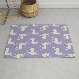 Mid Century Modern Deer Pattern Lavender and Tan 2 Rug