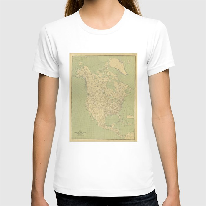 Vintage Map of North America (1912) T-shirt