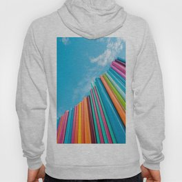 Colorful Rainbow Pipes Against Blue Sky Hoody