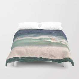 NEVER STOP EXPLORING - SURFING HAWAII Duvet Cover