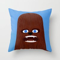 chewbacca Throw Pillows featuring Chewbacca by Jack Teagle