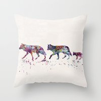 wolves Throw Pillows featuring Wolves by Watercolorist