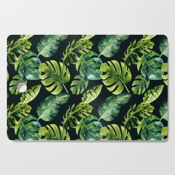 Watercolor Botanical Tropical Palm Leaves on Solid Black Background Cutting Board