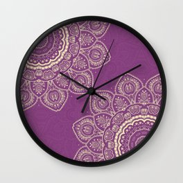 Tulips Mandala in Radiant Orchid Color Wall Clock