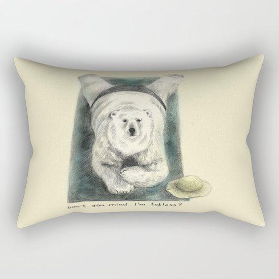 Don't you mind I'm topless? // polar bear Rectangular Pillow