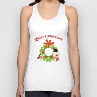 cartoons Tank Tops featuring Festive Christmas Cartoons on Chevron Pattern by Kirsten Star