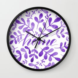 Watercolor home foliage - purple Wall Clock