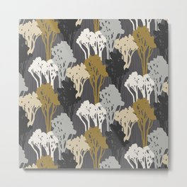 Arboreal Silhouettes - Golds & Silvers Metal Print