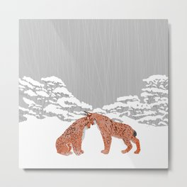 Lynx - Winter Forest Metal Print