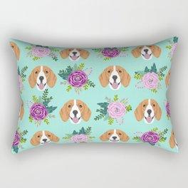 Beagles pattern floral dog breed beagle art pet portrait pet friendly dog art Rectangular Pillow