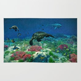 Sea turtles swim through the Mediterranean Sea Rug
