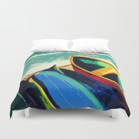 boats Duvet Covers featuring Boats by Christina Rowe