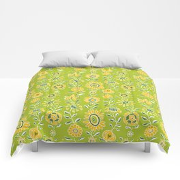 wonky wildflower waterfall ... green and gold Comforters