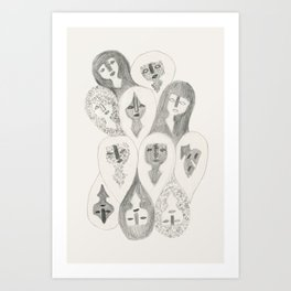 Pencil Girls Art Print