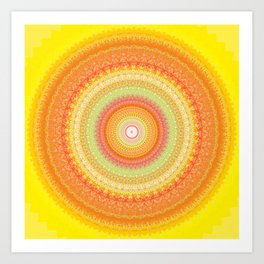 Bright Yellow Orange Mandala Art Print