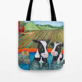 Cows in a Hot Tub Tote Bag