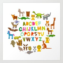 back to school. alphabet for kids from A to Z. funny cartoon animals Kunstdrucke