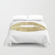 Gold Lips, Vanity Decor Duvet Cover
