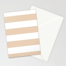 Wide Horizontal Stripes - White and Pastel Brown Stationery Cards