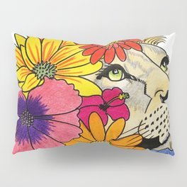 Lioness with flowers Pillow Sham