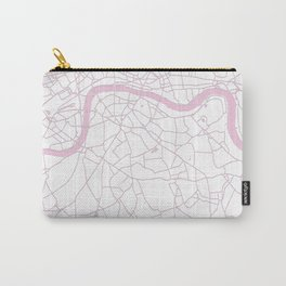 London White on Pink Street Map Carry-All Pouch