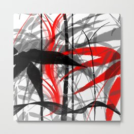 red black grey silver white bamboo abastract digital painting Metal Print