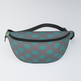 Large Polka Dots in Teal on Charcoal Gray Fanny Pack