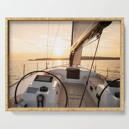 Sailing into the sunset- Nautical Photography- Sailors dream Serving Tray