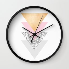 Geometric Triangles - Gold Pink and Marble Wall Clock
